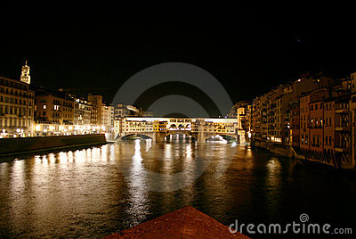 Florence, river Arno and Old Brige by night