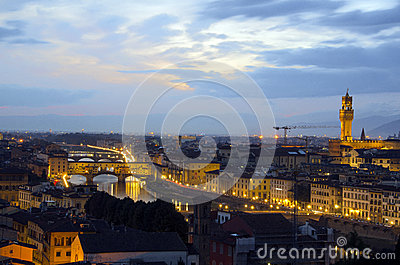 Florence skyline at night Editorial Image