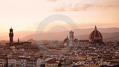 Florence skyline at sunset, Italy