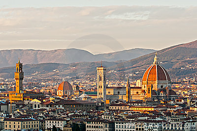 Florence, view of Duomo and Santa croce