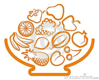 Florero con la fruta