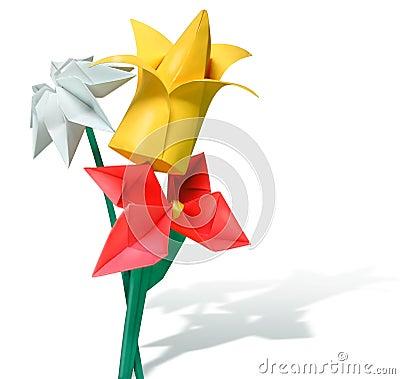 Flores De Papel De Origami - Vermelhas, Amarelo, Branco Fotografia de Stock - Imagem: 447852