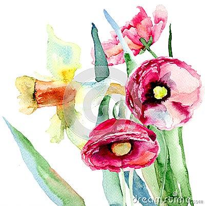 Flores del narciso y de la amapola