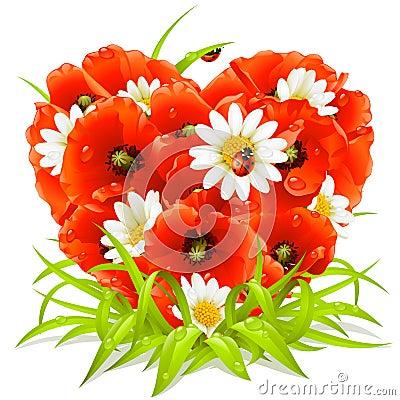 Flores del resorte en la dimensión de una variable del corazón