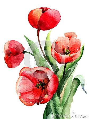 Flores rojas de los tulipanes