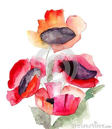 Flores rojas hermosas