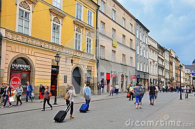 Florianska, Main shopping street of Krakow Editorial Stock Photo