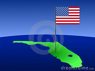 Florida with American Flag