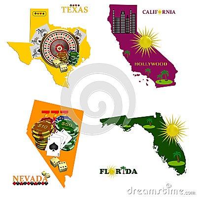 Florida Nevada, Texas and California