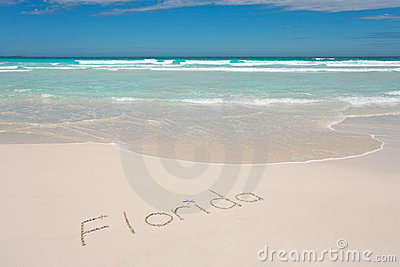 Florida written on beach