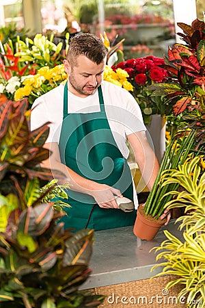 Florist man reading barcode potted plant shop
