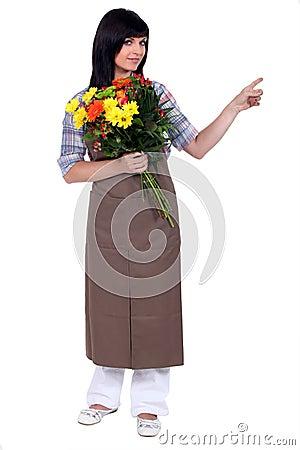 Florist pointing