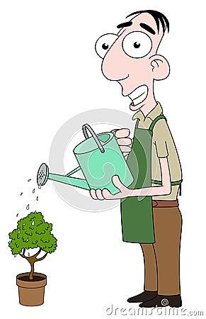 Florist watering plant
