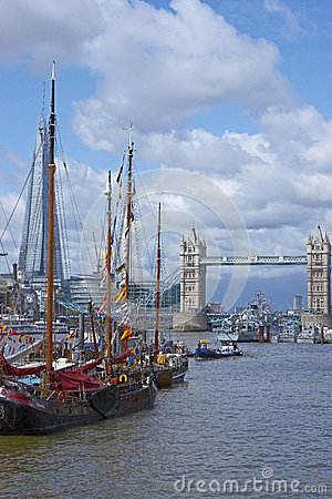 Flotilla on the River Thames Editorial Stock Photo