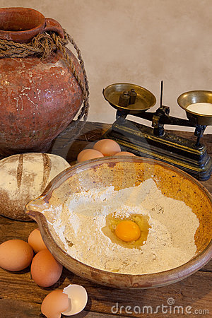 Free Flour And Eggs For Bread Dough Stock Images - 13604684