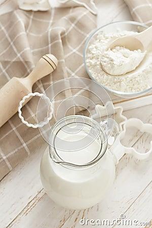 Free Flour And Milk Royalty Free Stock Photo - 30421055