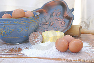 Flour, Butter, and Eggs with Rolling Pin