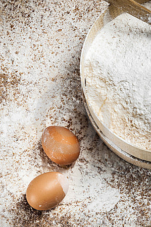 Flour and eggs for bakery