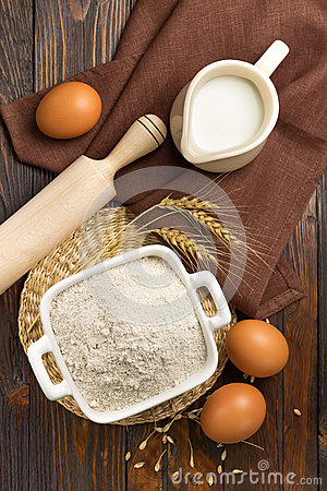Free Flour, Milk And Eggs Royalty Free Stock Image - 29005976