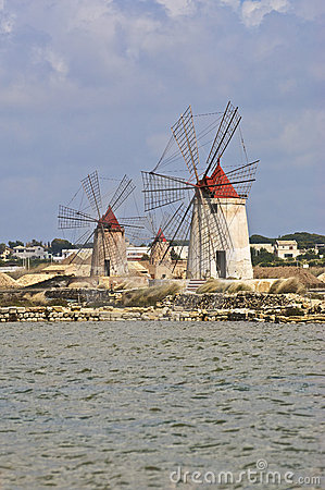 Flour mills in the fantastic Salina of Marsala