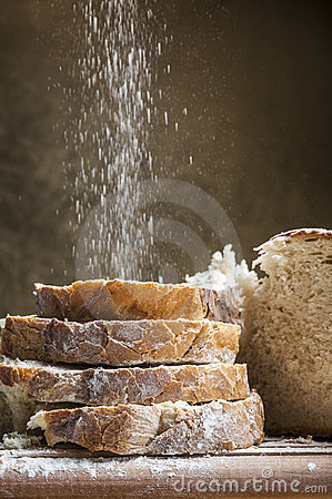 Flour poured on slices of bread