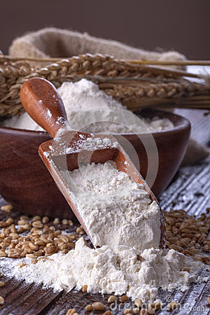 Flour with wheat Stock Photo