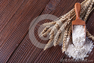 Flour with wheat Stock Photo