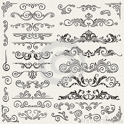 Free Flourish Border Corner And Frame Elements Collection. Vector Card Invitation . Victorian Grunge Calligraphic. Wedding Stock Photo - 87310620