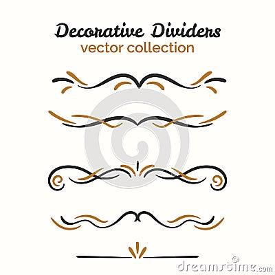 Flourish elements. Hand drawn dividers set. Ornamental decorative element. Vector ornate design. Vector Illustration