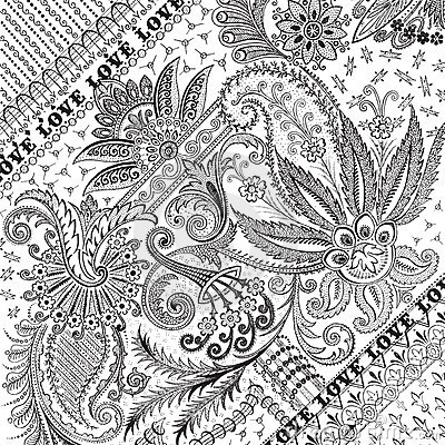 Flourished floral damask background or overlay