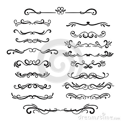 Free Flourishes Vintage. Ornamental Borders And Dividers, Filigree Ornament Swirls. Victorian Decoration Elements. Royalty Free Stock Image - 94930806