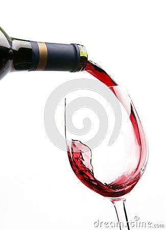 Flow IN Wine Red Liquid fills Glass