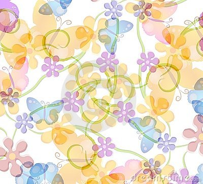 Free Flower And Butterfly Pattern Stock Images - 2246884