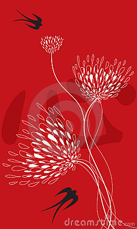 Free Flower And Swallows On Red Royalty Free Stock Image - 2832716