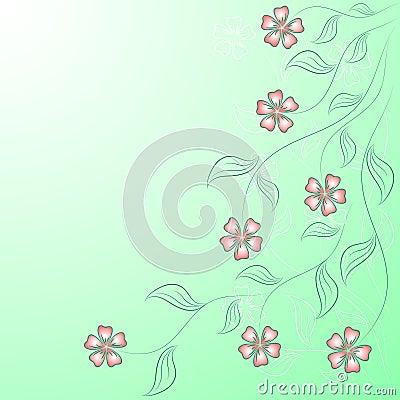 Flower angular frame on the green.