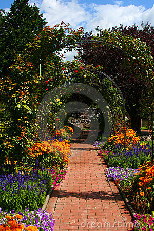 Flower arch in garden, Graz