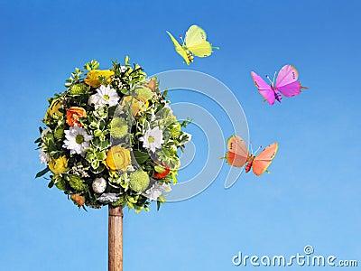 Flower arrangement with butterflies