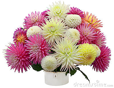 Flower arrangement of chrysanthemums and dahlias