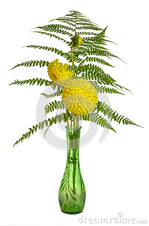 Flower arrangement with ferns and chrysanthemums
