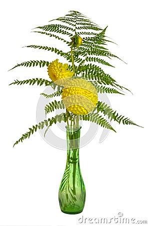 Flower arrangement with ferns and chrysanthemums
