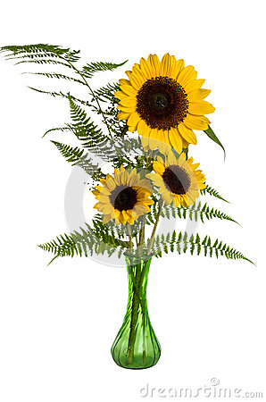 Flower arrangement with ferns and sunflowers