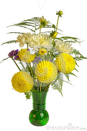Flower arrangement with ferns and yellow flowers