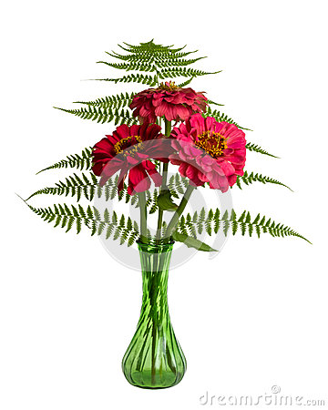 Flower arrangement with ferns and Zinnias