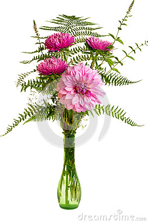 Flower arrangement with fresh ferns and mums