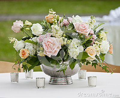 Flower arrangement in silver bowl