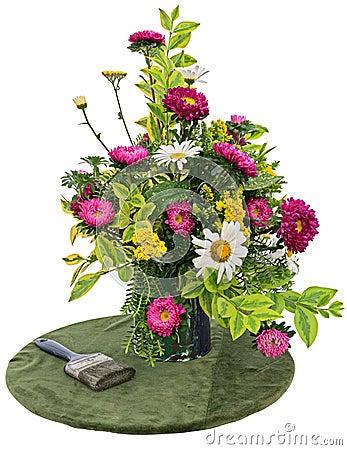 Flower arrangement on white background