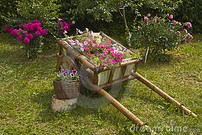 Flower-bed made as carriage with flowers