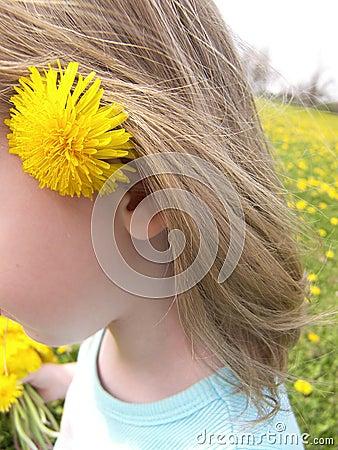 Flower behind ear in field