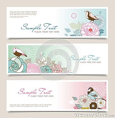 Flower & bird banner