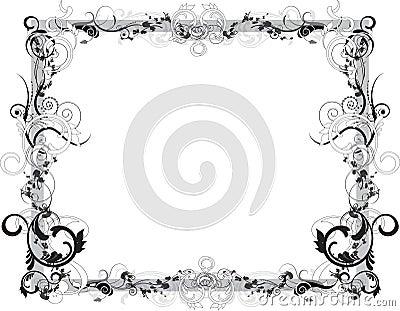 Flower Black and White Frame
